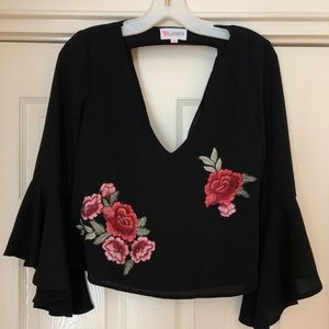 L'ATISTE Rose Bell Sleeve Blouse